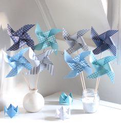 8 moulins à vent dans les tons bleus et gris : Accessoires de maison par latelierdesconfettis