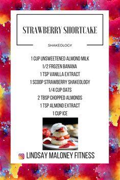 Strawberry Shortcake Shakeology-- Strawberry Shakeology Recipes-- Dessert Shakeology Protein Powder Recipes, Protein Shake Recipes, Protein Foods, Protein Shakes, Shakeology Shakes, Beachbody Shakeology, Strawberry Shakeology Recipes, 310 Shake Recipes, Magic Bullet Recipes