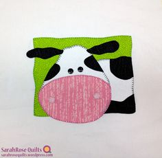Animal Whimsy Block of the Month - February Cow block over at SarahRoseQuilts.wordpress.com | applique quilt block