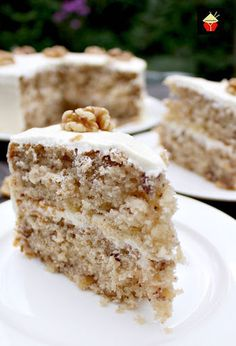 Walnut Cake is a delicious easy recipe. the cake is so soft and fluffy! Recipe also for a lovely vanilla frosting. You can make this as a round cake or a loaf, instructions for both. Freezer friendly too. This would also make a nice cake for the holidays! Easy Cake Recipes, Sweet Recipes, Baking Recipes, Dessert Recipes, Pasta Recipes, Almond Torte, Black Walnut Cake, Banana Walnut Cake, Just Desserts