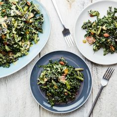 Tempura Kale Salad With Shiitake Mushrooms, Raisins, and Almonds do all steps except frying kale