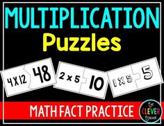 Multiplication fact puzzles are a fun way to practice math facts and prepare for times table quizzes. They are great for math centers, fast finishers, and filling odd minutes. The puzzles can be used by individual students, in partners, or with groups. Included are 13 sets of puzzles and student worksheets.