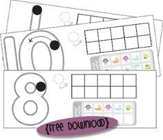 Playdough number mats with ten frames (0-10)