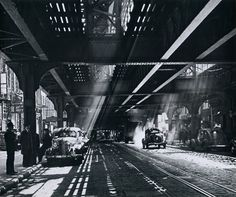The Bowery under the shadows of the Third Avenue el, circa 1940s    From New York in the Forties