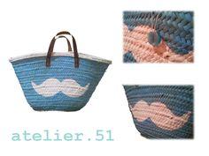Capazo print Moustache #beach #Sun #summer www.facebook.com/atelier51.Plasencia http://www.atelier51handmade.com/
