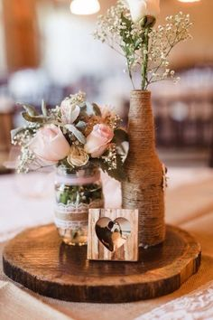 unique rustic wedding reception ideas on a budget 12 – Wedding Decorations Ideas - Wedding Table Rustic Wedding Reception, Rustic Wedding Centerpieces, Flower Centerpieces, Table Wedding, Centerpiece Ideas, Wood Centerpieces, Casual Wedding, Rustic Table Decorations, Wood Slab Centerpiece