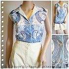 Vintage 1970s Sleeveless Shirt in Paisley Print  - Size 18/20