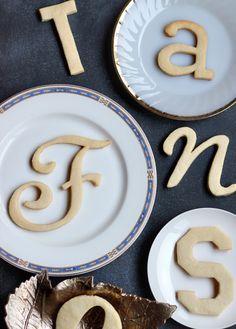 DIY typography cookies - you do JOY, NOEL, XO (Valentines), Monograms for names. SO FUN! Cookie recipe included