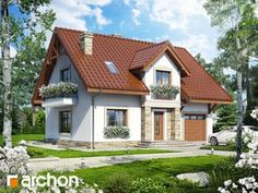 gotowy projekt Dom w lucernie (GP) Home Fashion, Cabin, Mansions, House Styles, Home Decor, Red Roof, Rooftops, Decoration Home, Manor Houses