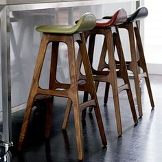Kitchen & Dining Room Design Ideas :: Stools A few weeks back I was looking for some timber stools for a dinning room table and now I have f. Timber Bar Stools, White Bar Stools, Leather Bar Stools, Wooden Stools, Kitchen Table Chairs, Dinning Room Tables, Kitchen Counter Stools, Dining Room Design, Kitchen Dining