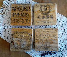 French Cafe Style Reclaimed Wood Coasters, Wooden Coasters, Up cycled Wood Coasters, Drink Coasters, Coaster Set of 4, Kitchen decor, Cafe