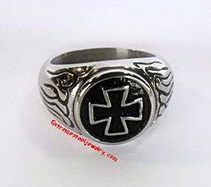 316L Stainless Steel Skull Ring Iron Cross & Flames Sz 7 - 16
