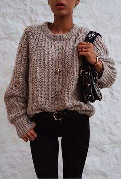 #fall #outfits women's knitted beige sweater