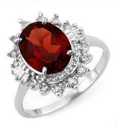 Garnet & Diamond Ring Aniversary Engagement Ring 10K White Gold Jewelry 3.45 ct