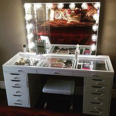 64 Super Ideas for makeup storage ikea alex beauty room Makeup Table Vanity, Vanity Room, Vanity Decor, Vanity Ideas, Makeup Vanities, Makeup Storage Table, Storage Ideas, Ikea Vanity, Drawer Ideas