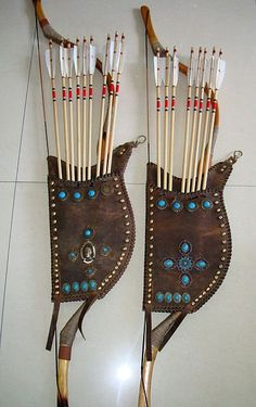 leather Quiver and bow  holder with jewels Archery Quiver, Archery Gear, Bow Quiver, Archery Arrows, Bow Arrows, Archery Hunting, Hunting Arrows, Archery Targets, Crossbow Hunting