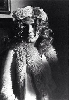 Robert Plant wearing a flower crown