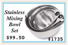 Our brushed stainless steel bowls have silicone bottoms and padded thumbholes to keep them steady. Standard and metric measure marks inside the bowls give you a quick reference. Spouts help you pour liquids, portion pancake batter and more. Bowls and included lids nest for compact storage. Set of 2, 4 and 6 qts. Dishwasher- and freezer-safe.