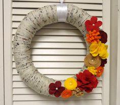 Fall Yarn Wreath by KimLKrafts on Etsy, $45.00