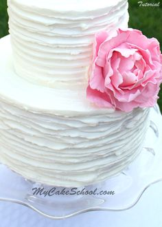 Rustic Ridged Buttercream (with gum paste peony)- Video by MyCakeSchool.com!