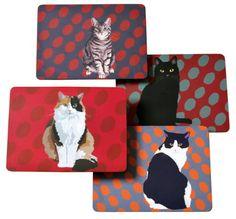 Leslie Gerry Cat Placemats Set of 4