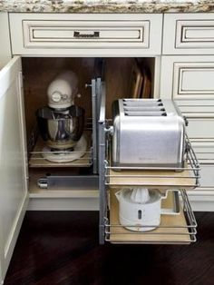 appliance drawers. because i like clean counters! by floney Appliance Cabinet, Kitchen Appliance Storage, Kitchen Cabinet Drawers, Appliance Garage, Kitchen Cabinet Accessories, Kitchen Pull Out Drawers, Kitchen Organisation, Kitchen Cabinet Organizers, Small Kitchen Cabinet Design
