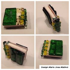 Miniatuur glazen boekband 4 x 5 cm, omslag voor gedicht van AMG Schmidt. Zie ook kb.nl.