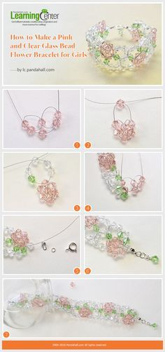 Tutorial on How to Make a Pink and Clear Glass Bead Flower Bracelet for Girls from LC.Pandahall.com