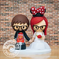 Arsenal Sports Fan Groom and Minnie Mouse Bride Vintage Wedding Cake Topper - Harry Potter, Disney, Geeky, Nerdy, Star Wars, Football Soccer