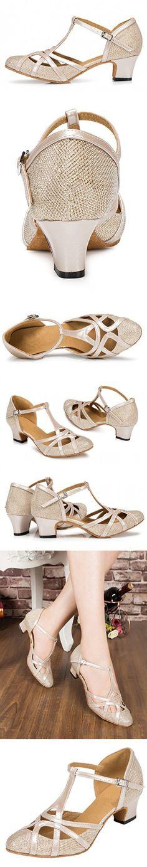 TDA Womens Mid Heel 5cm Champagne PU Leather Salsa Tango Ballroom Latin Party Dance Shoes CM101 10 M US