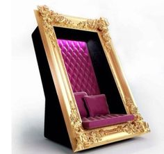 Another Pinner said: Frame Chair by Slokoski. This glitzy chair would be perfect for a boutique hotel or nightclub. Unusual Furniture, Funky Furniture, Furniture Design, Photowall Ideas, Nightclub Design, Bars And Clubs, Cafe Chairs, High Chairs, A Boutique