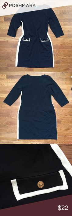 Lauren Ralph Lauren Black and White Dress Perfect for fall or winter weddings and events! This beauty has slimming stripes down the sides and cute pocket detailing. There is a tiny snag on the front as pictured. Price reduced as a result. •No returns, no trades •10% discount on 3+ items Lauren Ralph Lauren Dresses