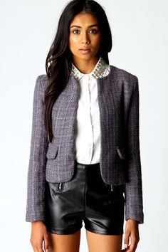 Structured shapes: Olivia Metallic Detail Boucle Jacket #lfw boohoo.com