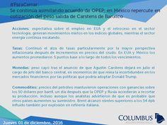 #ParaCerrar #Columbus #Noticias Se continúa asimilando acuerdo de OPEP; en México repercute en cotización del peso salida de Carstens de Banxico