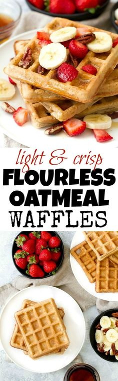 Flourless oatmeal waffles that are crispy on the outside, fluffy on the inside, and crazy easy to make! Gluten-free and a perfect make ahead breakfast! Weight Watcher Desserts, Healthy Waffles, Healthy Breakfast Recipes, Healthy Waffle Recipes, Clean Eating Waffles, Pancake Recipes, Healthy Desserts, Healthy Food, Dessert Recipes