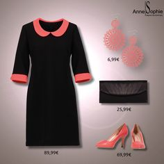"""Casual chic 2015 black dress with pink pumps. Anne-Sophie SMARTSHOPPING offers a feminine ready-to-wear """"Casual Chic"""" collection for a year-round feminine look."""