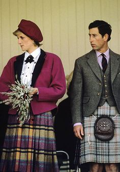 September Charles and Diana at the Braemar Highland Games. Diana is wearing a multicoloured tweed skirt w/ an embroidered cotton blouse and bright pink wool jacket
