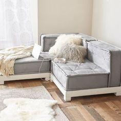 Delightful Cushy Lounge Sectional Set Sectional Sofa, Black Sectional, White Couches,  Lounge Sofa,