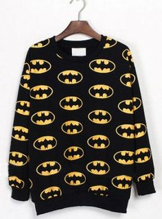 Black Long Sleeve Batman Print Sweatshirt  #SheInside