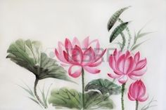 drawing: Tree lotuses watercolor painting, original art, asian style Stock Photo
