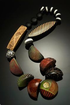 """Kathleen Dustin, large hollow polymer and oxidized sterling silver beads.   32""""l, adjustable  $ 1500 contact Kathleen for availability"""