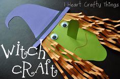 Paper witch   25+ Halloween crafts for kids width=