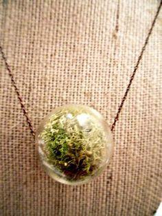 Live Moss Glass Hanging Terrarium Pendant Necklace by Heronandlamb
