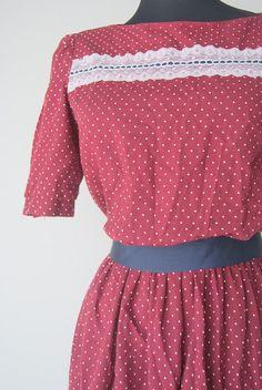 Vintage Polka Dot Crimson Day Dress by hipandvintage on Etsy