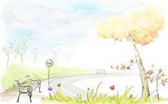 Art Drawing : Romantic Scene of the Seasons - Romantic Scene - Tranquil Autumn wonderland  illustration painting 34