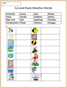 Cut and Paste Weather Words - Extra Practice