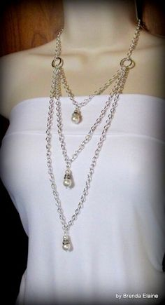 Necklace with Triple Tiers of silver Chain with Pearl Pendants | byBrendaElaine - Jewelry on ArtFire