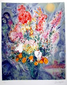 Untitled - Bouquet in front of lover, 1985. Marc Chagall