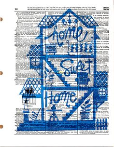 Home Sweet Home  Vintage Dictionary Book Page by KFLGetsHerFunkOn