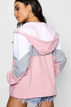 Womens Hooded Panelled Windbreaker - Pink - S Sporty Outfits, Cute Casual Outfits, Fashion Outfits, Windbreaker Outfit, Cute Jackets, Aesthetic Fashion, Coats For Women, Hoods, How To Wear